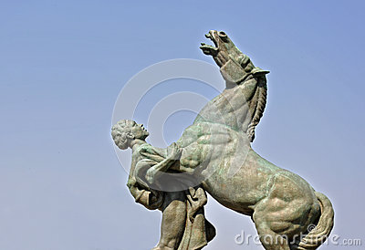 Monument with horse and man