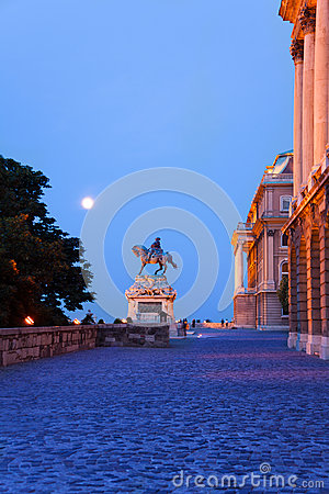 Monument of horseman near Buda Castle in Budapest