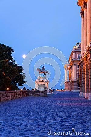 Monument of horseman near Buda Castle in Budapest