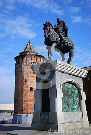 Monument and Kremlin in Kolomna, Russia
