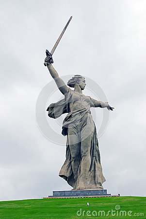 Monument Motherland in Volgograd, dramatic sky background. Editorial Stock Image