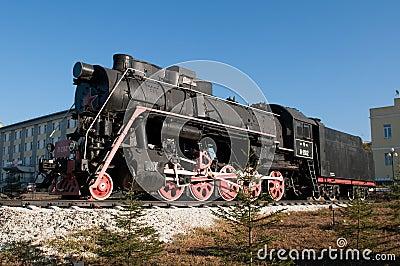 Monument of old steam locomotive.