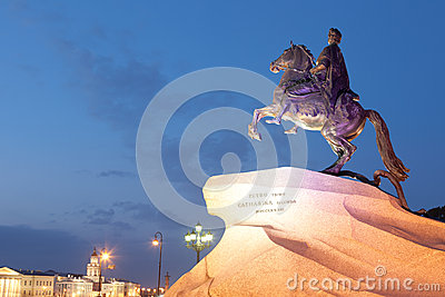 Monument to the Bronze Horseman in the evening, St. Petersburg
