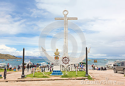 Monument to Don Eduardo Avaroa in Copacabana, Bolivia Editorial Photography