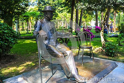 Monument to famous french gardener Michael D`Alfons on Batumi boulevard Editorial Stock Photo