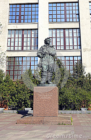 Monument to Hero of the Soviet Union Grizodubova Valentina Editorial Photography