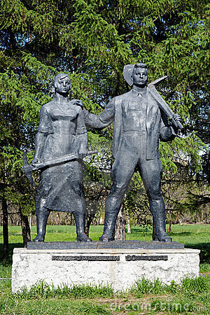 Monument to Komsomol of 30s in Komsomolsk-on-Amur