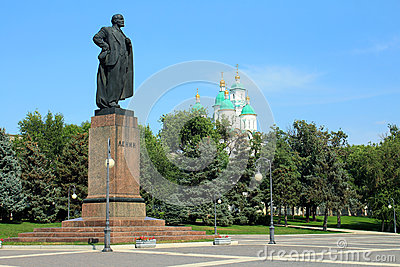 The monument to Lenin in Astrakhan Editorial Photography