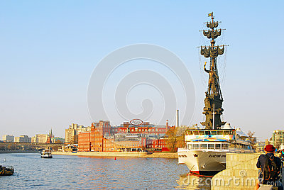Monument to Peter the Great in Moscow Editorial Stock Photo