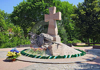 The monument to the Ukrainian Cossacks in Poltava Editorial Photography