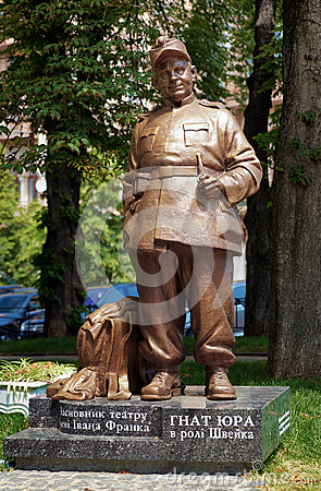 Monument to ukrainian theatre actor Gnat Yura Editorial Stock Image