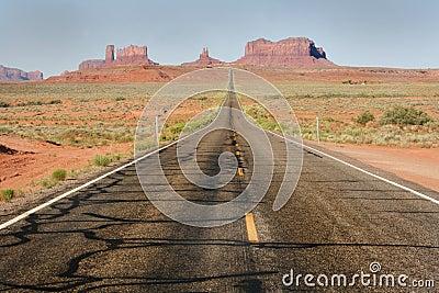 Straight desert highway road