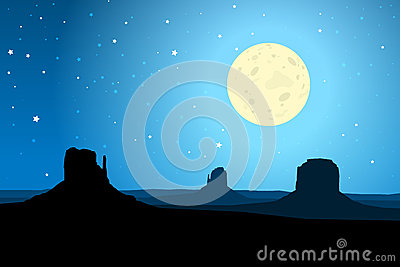 Monument Valley Arizona Agaist a Starry Night Sky, EPS10 Vector