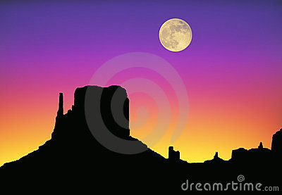 Monument Valley moon sunset
