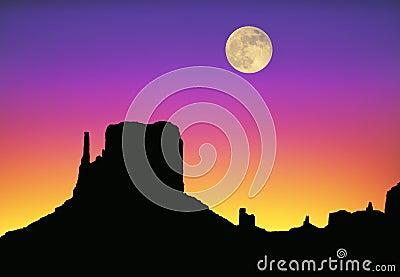 Monument Valley moon sunset