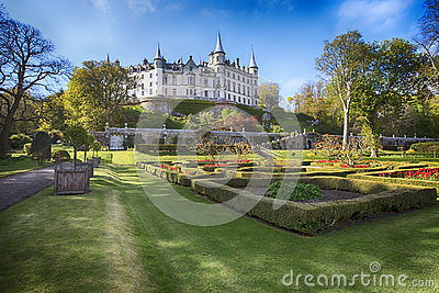 Dunrobin Castle, Scotland. Spring sunny day in the park Editorial Stock Photo