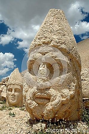 Monumental god heads on mount Nemrut, Turkey
