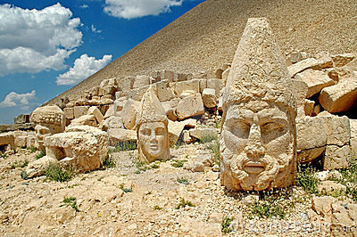 Monumental god heads on mount Nemrut, Turkey
