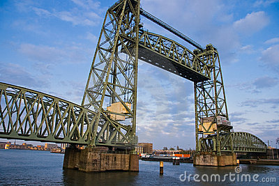 Monumental iron lifting bridge in Rotterdam