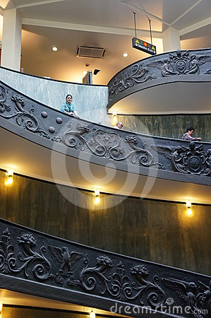 Monumental Stairs of the Vatican Museum Editorial Stock Image
