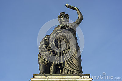 The monumental statue Bavaria of Munich in Germany