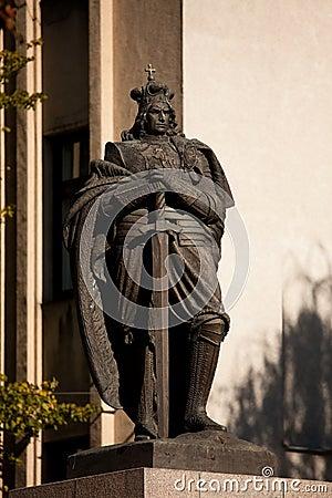 Monumento de Vytautas el grande Imagen de archivo editorial