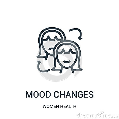 mood changes icon vector from women health collection. Thin line mood changes outline icon vector illustration Vector Illustration