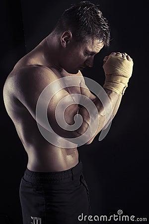 Free Moody Dark Portrait Of Bodybuilder Stock Photography - 26874192