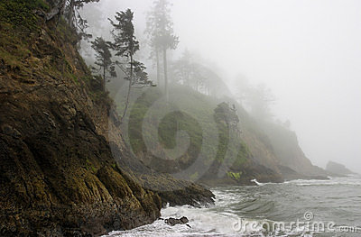 Moody Pacific Shoreline, a rocky cliff in fog