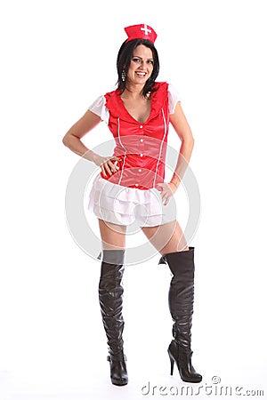 Mooi jong meisjes sexy laarzen en verpleegsterskostuum