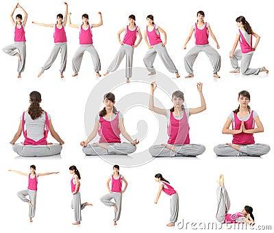 Mooie tienervrouw die yogaoefening doet