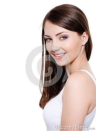 Mooie toothy glimlachende vrouw