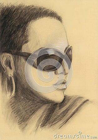 Mooie vrouw in zonnebril portret wijnoogst tekening stock illustratie afbeelding 58527062 - Wijnoogst ...