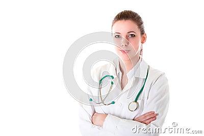 Mooie vrouwelijke arts met stethoscoop