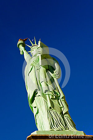 Free Moon Above Statue Of Liberty - Replica Royalty Free Stock Photo - 45838405