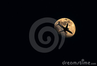 Moon with aeroplane