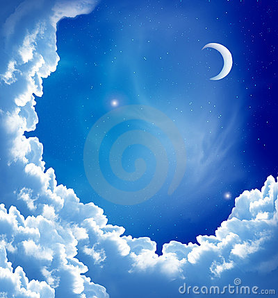 Free Moon And Beautiful Clouds Stock Photography - 17266702