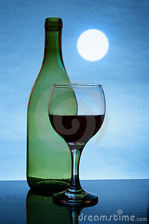 Free Moon And Red Wine Stock Image - 4098401