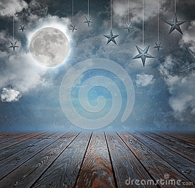 Free Moon And Stars Night Background Backdrop Royalty Free Stock Image - 35119606