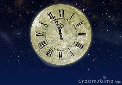 The moon with arrow clock in the star sky