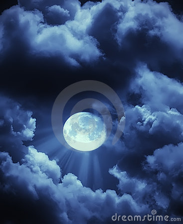 Free Moon Beams And Clouds Stock Image - 13864431