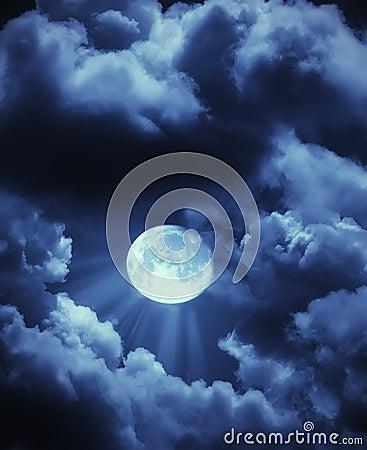 Moon beams and clouds
