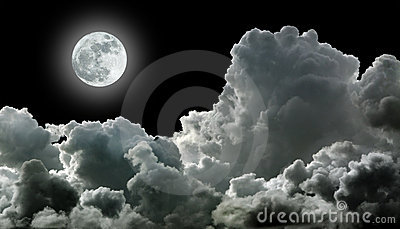 Moon in black clouds