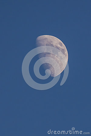 Moon on blue sky