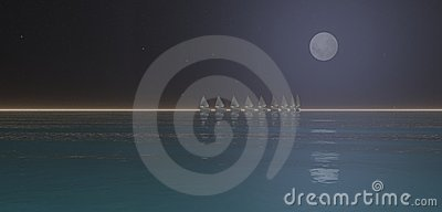 Moon and boats on sea horizon