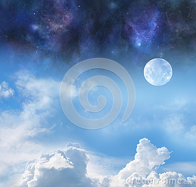 Free Moon By Night And Day Stock Images - 64627234