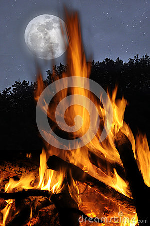The moon and the campfire