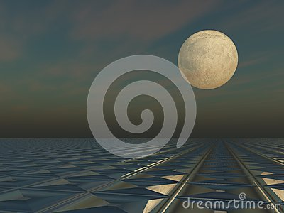 Moon Cloud Grid Scape