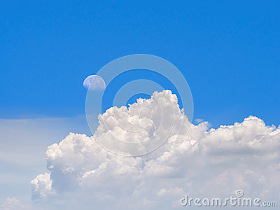 Moon and cloud on morning with blue sky