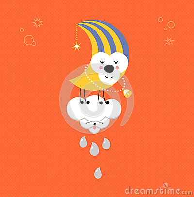 Moon and Cloud in the sky. Cute kawaii animalistic cartoon